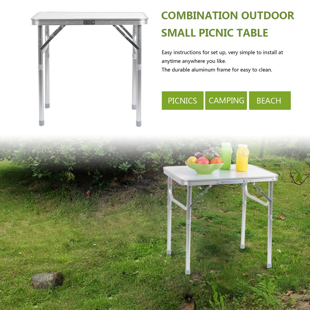 Click here to buy 60*45CM Portable Small Size Folding Aluminum Height Adjustable Table Indoor Outdoor Picnic Party Dining Camping Table by TRYIF.