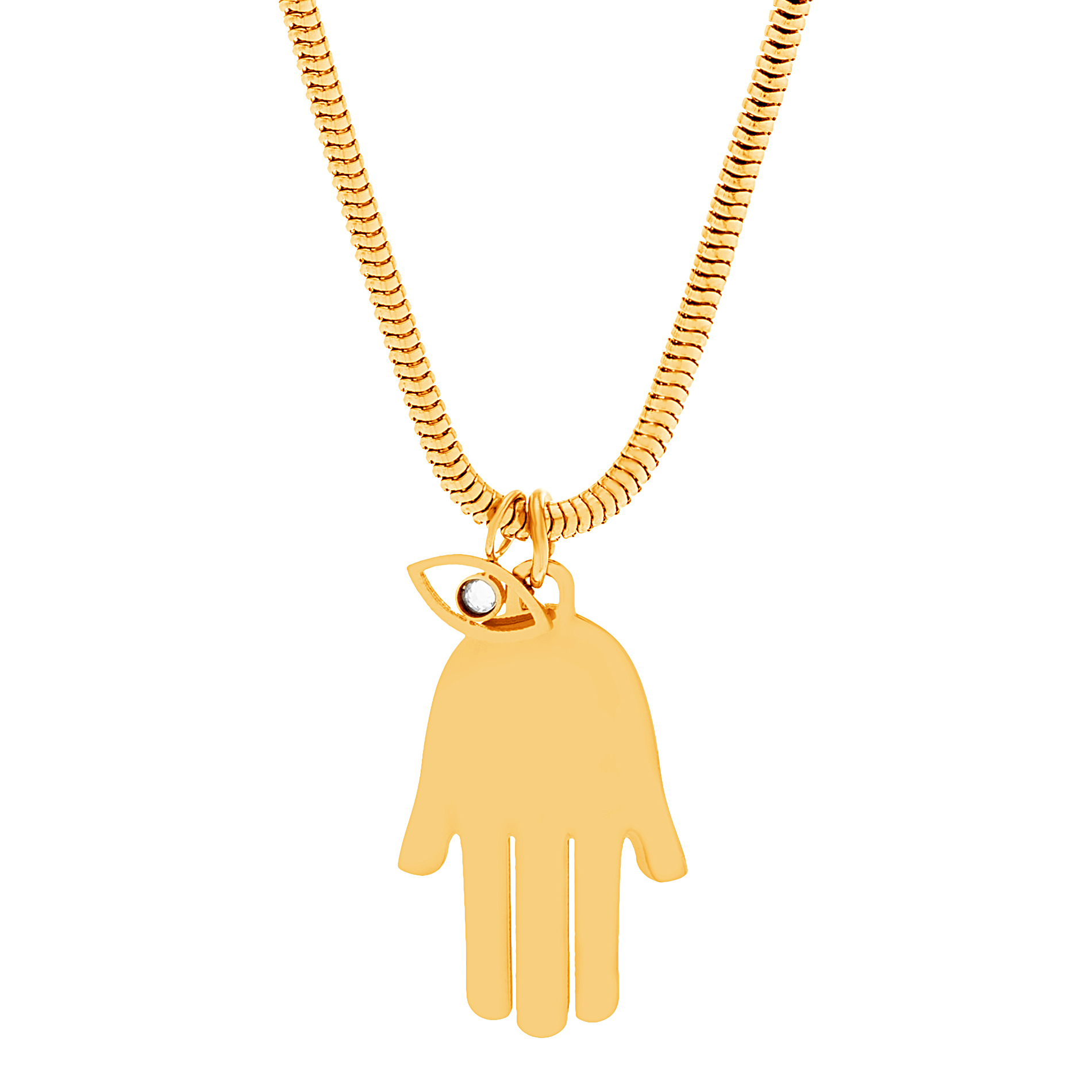 Gold-Tone Stainless Steel Hamsa Necklace