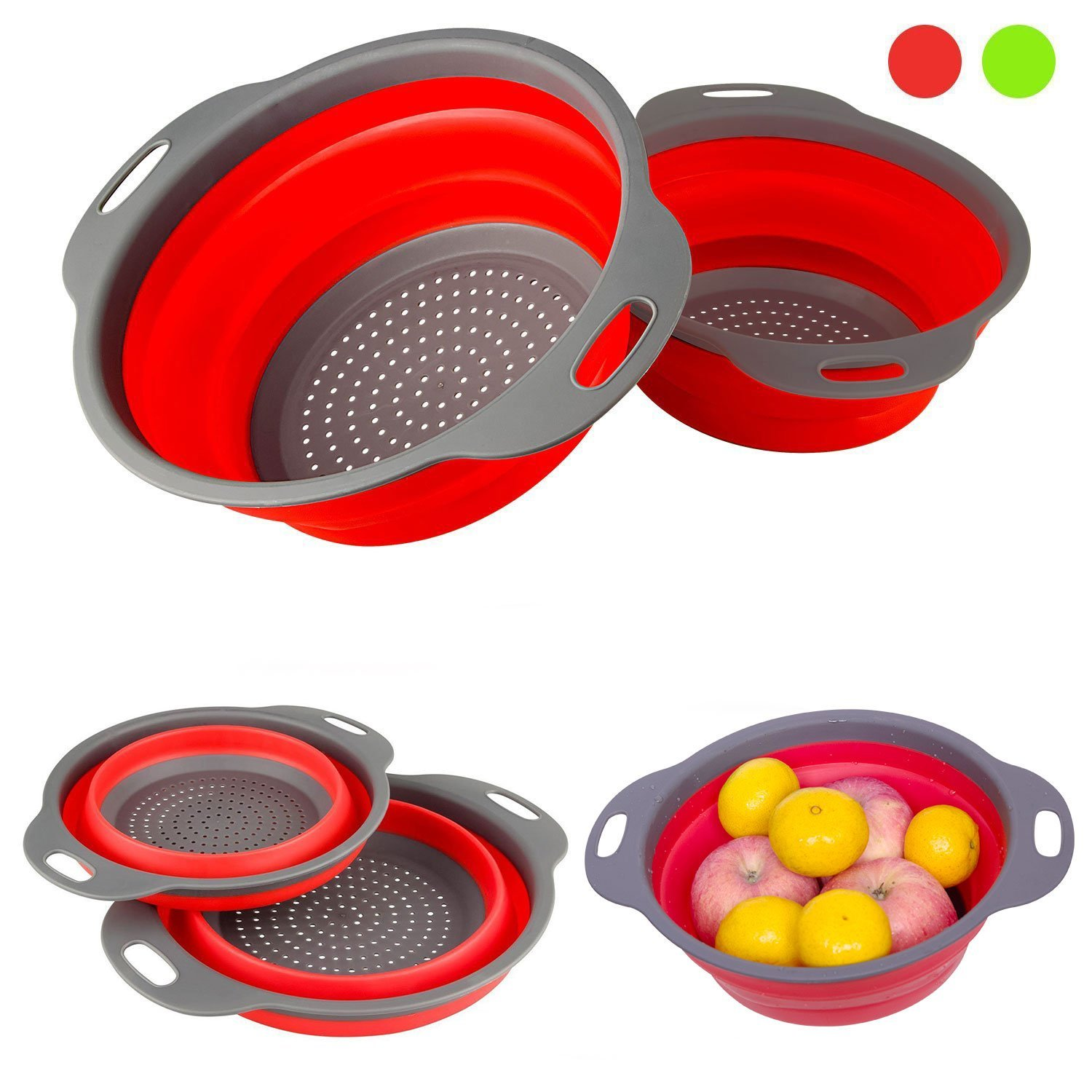 Click here to buy DGEMOC 2 Collapsible Colanders Set(Strainers) , Food-Grade Silicone kitchen Strainer Space-Saver Folding Strainer, 9.5inch and 8inch Size....