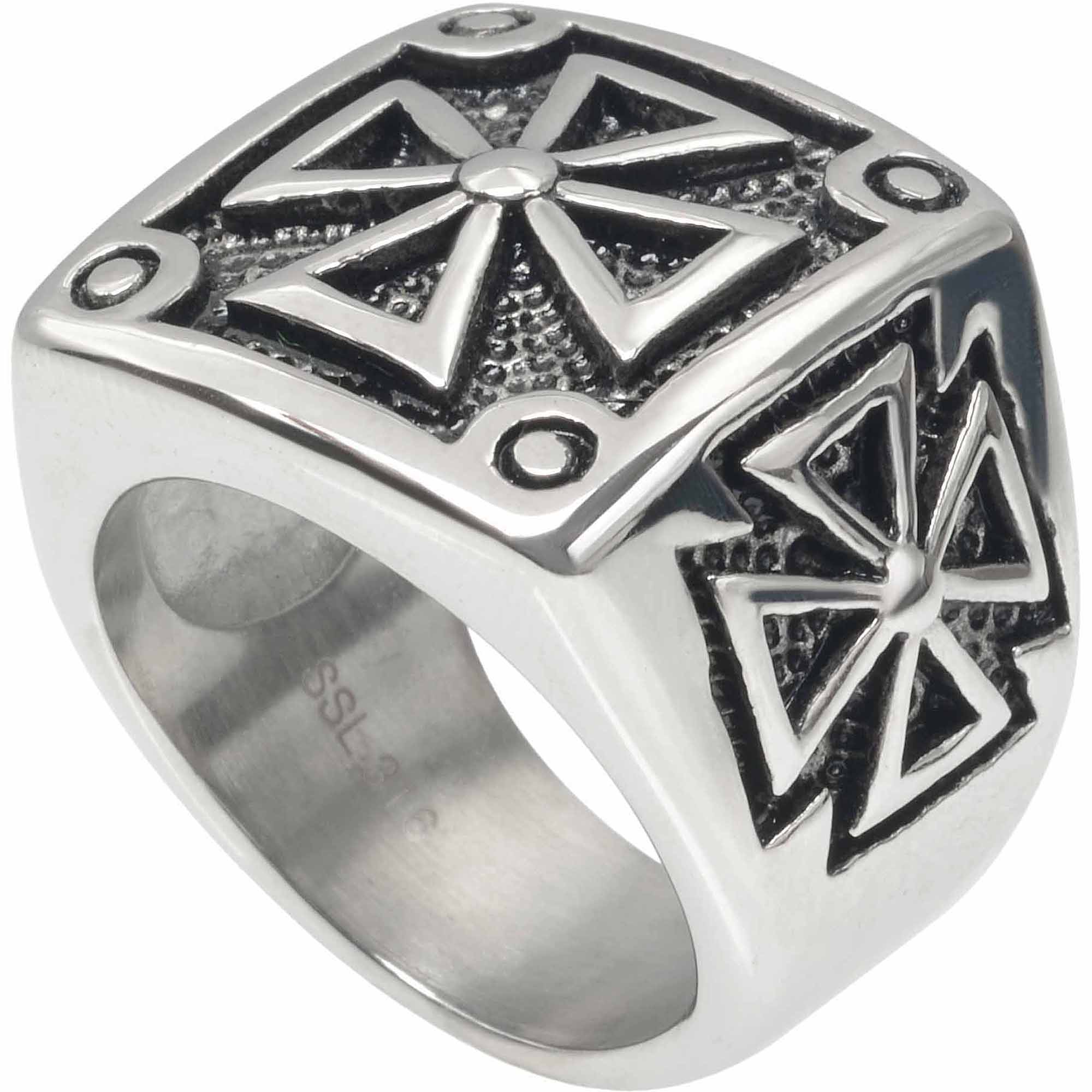 Daxx Men's Stainless Steel Iron Cross Fashion Ring