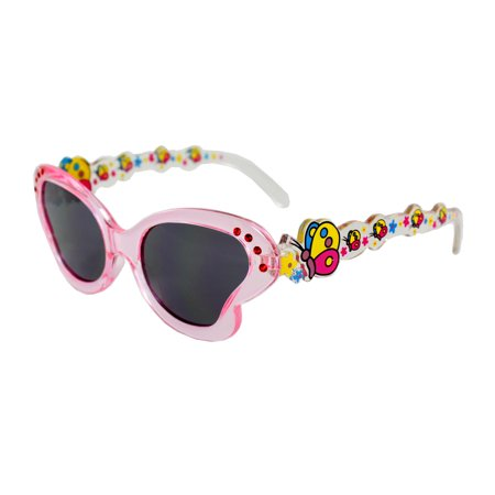 - MLC Eyewear K0191-CLPKSM Kids Butterfly Sunglasses Clear Pink Frame Smoke Lenses Design with Multicolor Butterfly Pattern.