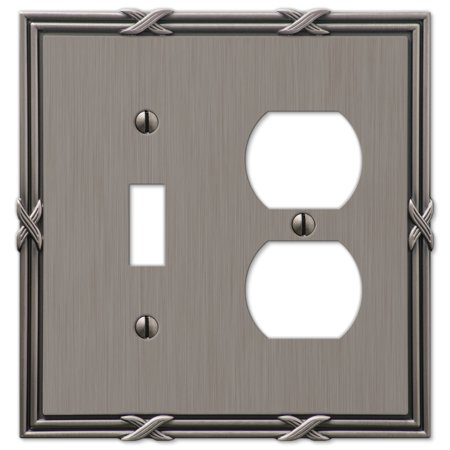 Amerelle 44TDAN Ribbon and Reed 1 Toggle/1 Duplex Wallplate, Antique Nickel ()