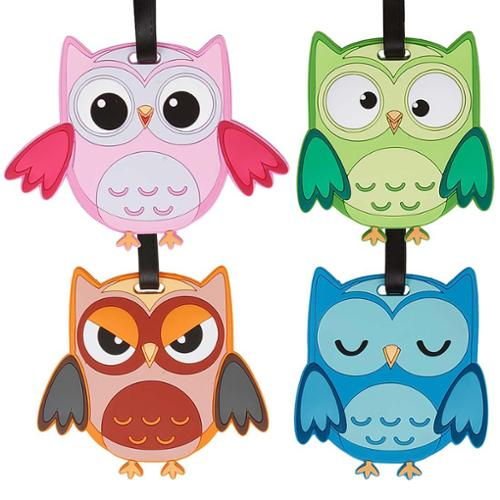 Bundle Monster 4pc Mixed Owl Design Silicone Luggage ID Bag Tags - Set 5