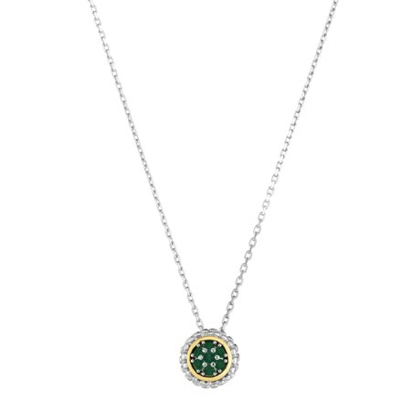 "18k Gold And Sterling Silver Emerald Fancy Necklace, 16"" - image 1 of 1"