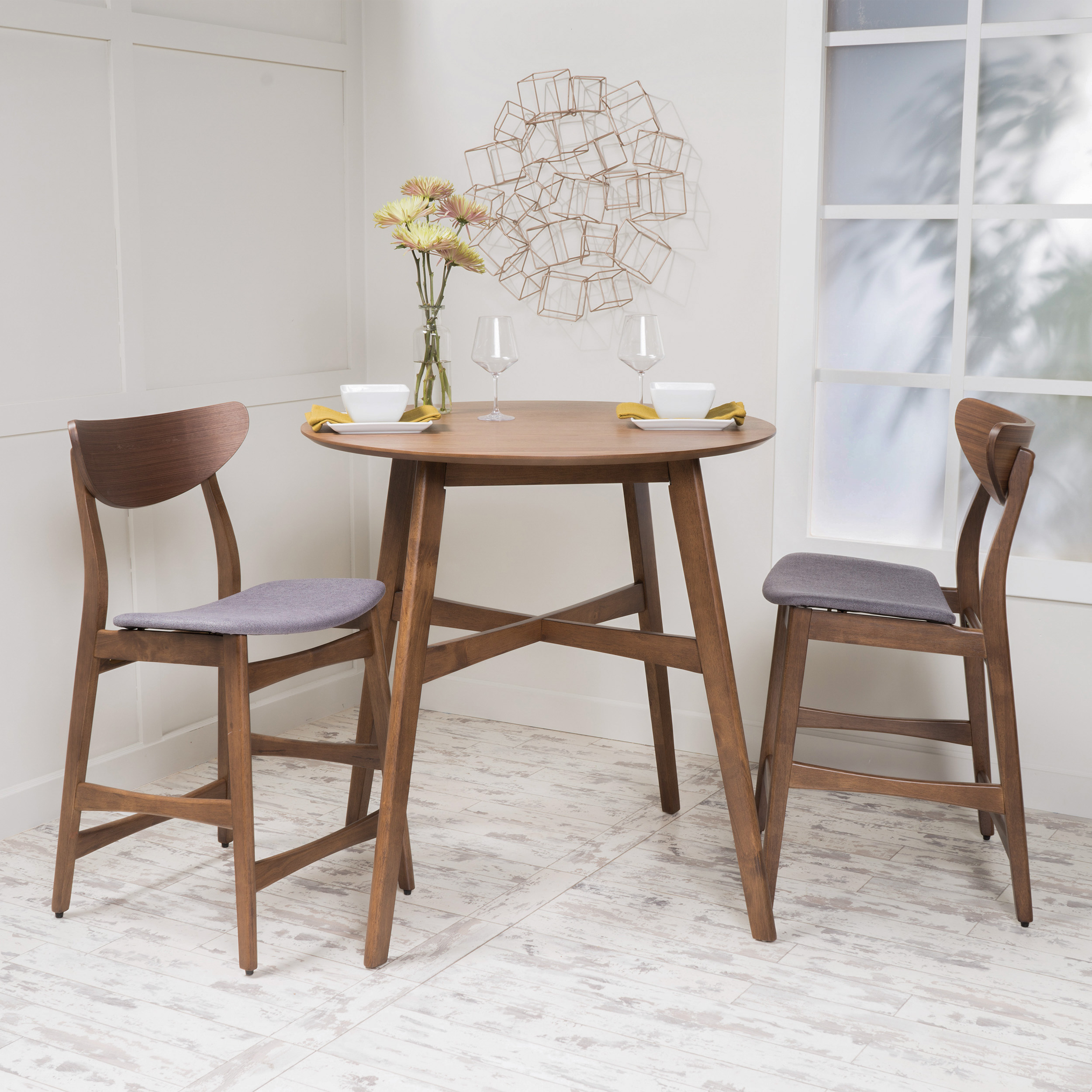 Noble House Mitchell 3 Piece Mid-Century Modern Wood Counter Height Dining Set, Walnut/Grey