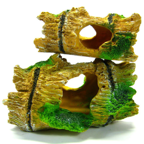 2 Bamboo Cave Aquarium Ornament Decoration Resin Trunk Fish Hide Dodge by