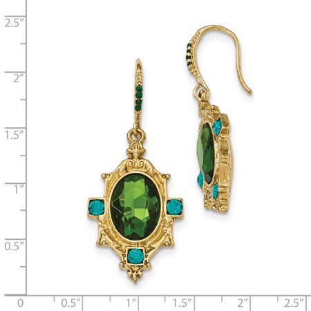 Gold-tone Blue and Green Crystal & Glass Textured Dangle Earrings BF2670 - image 1 of 2