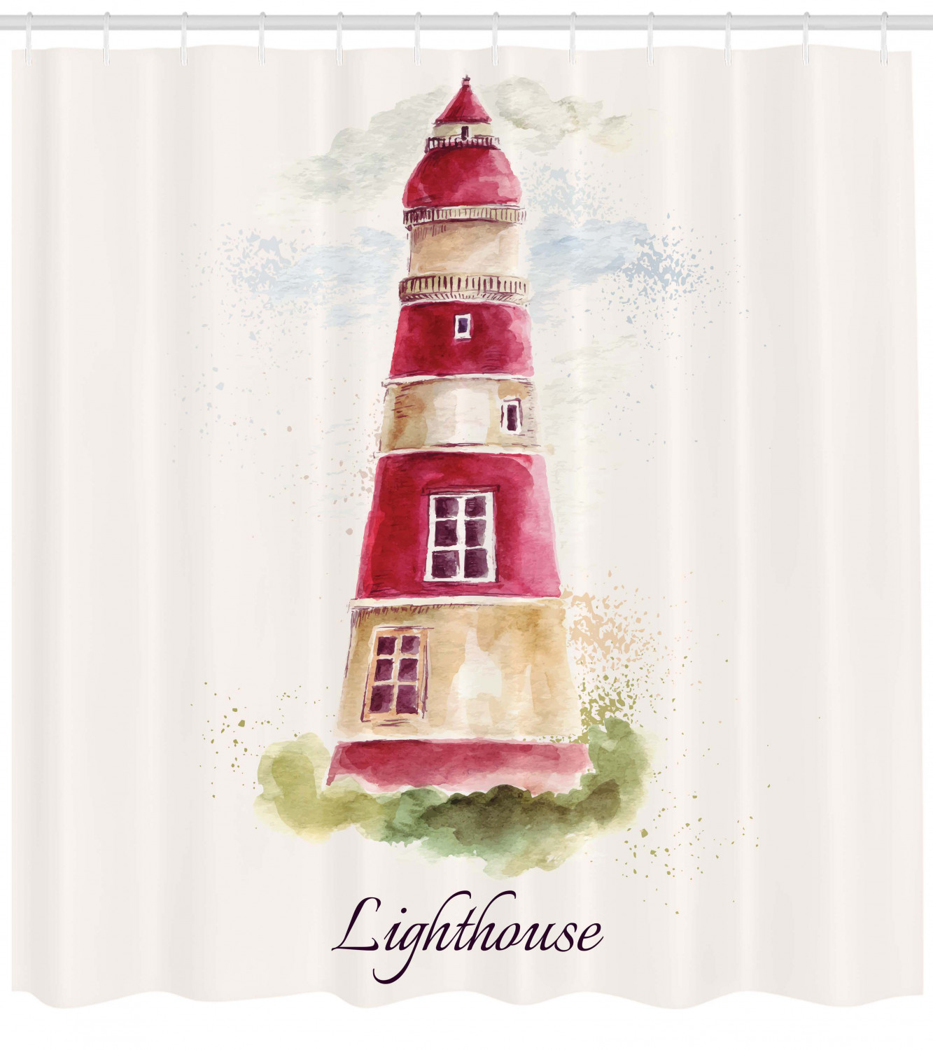 Lighthouse Shower Curtain Watercolor Lighthouse Print Pastel Faded Vintage Lettering Windows Grass Clouds Fabric Bathroom Set With Hooks