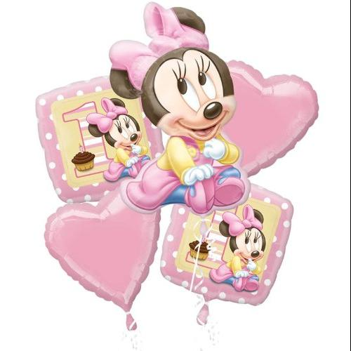 Disney Minnie Mouse First Birthday Party Balloon Bouquet 1st Multi-Colored