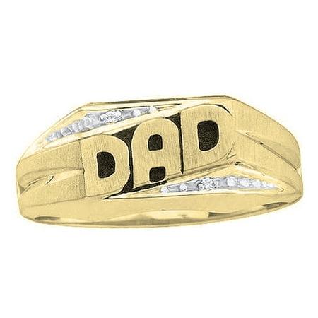0.02 Carat (ctw) 10K Gold Round Cut Diamond Men's DAD Ring (10k Dad Ring)