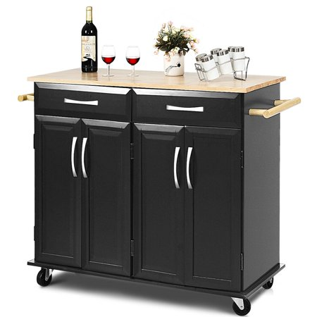 Costway Rolling Kitchen Trolley Island Cart Wood Top Storage Cabinet Utility w/ Drawers