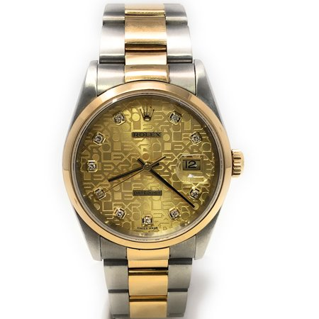 Rolex Datejust 16203 Champagne Jubilee Diamond dial and an 18kt Yellow Gold Smooth Bezel (Certified Pre-Owned) 18kt Yellow Gold Diamond Bezel