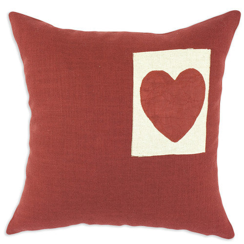 Chooty & Co Circa Solid Heart Linen Throw Pillow