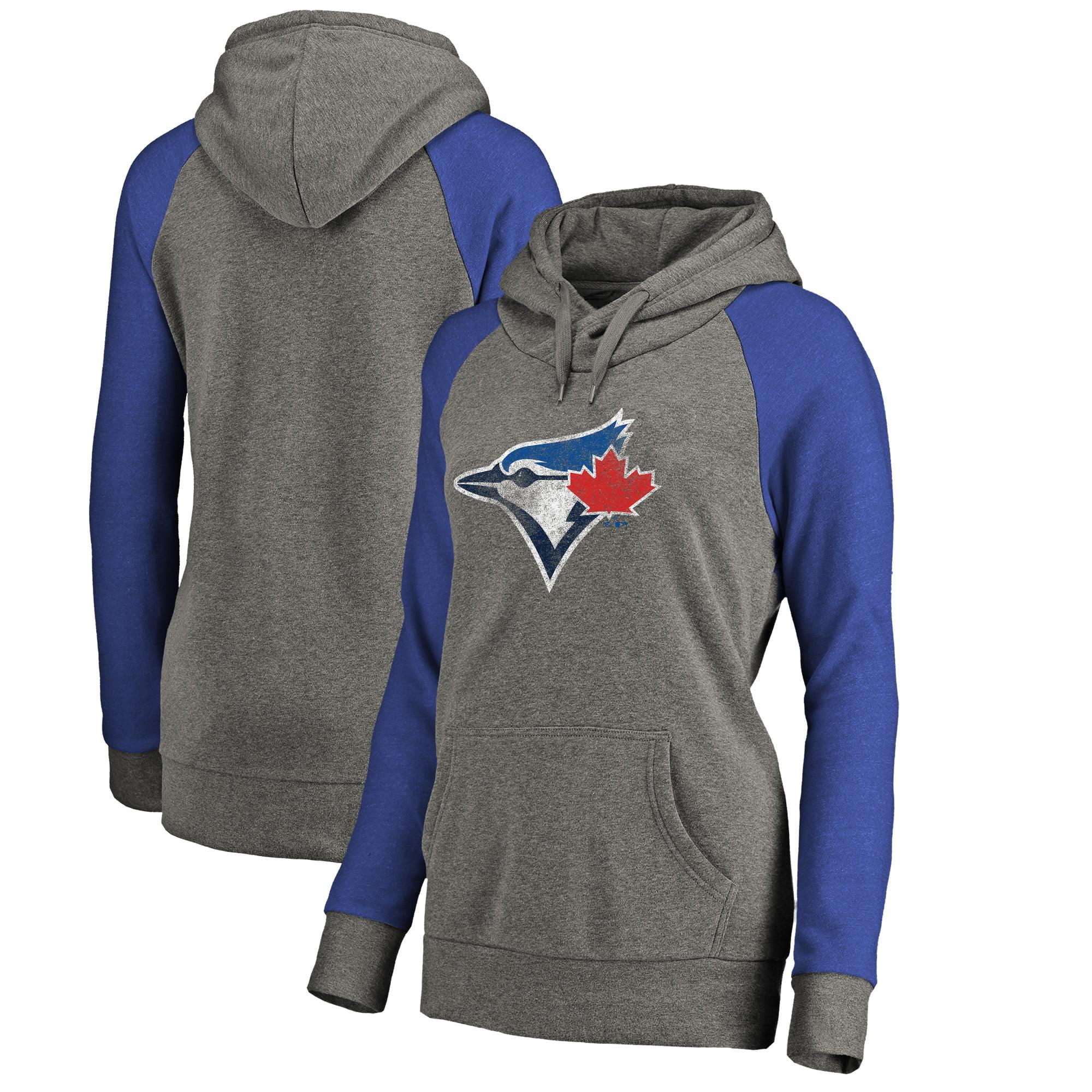 Toronto Blue Jays Fanatics Branded Women's Distressed Team Logo Tri-Blend Plus Size Raglan Pullover Hoodie - Gray/Royal