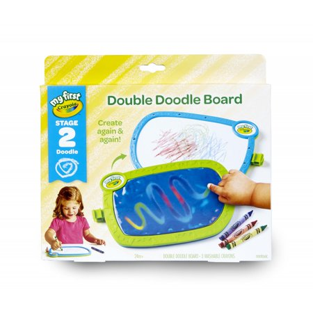 Crayola My First Double Doodle Board, 3 Tripod Grip Washable Crayons Double-Sided Drawing Tablet Reusable](Crayola Dry Erase Light Up Board)