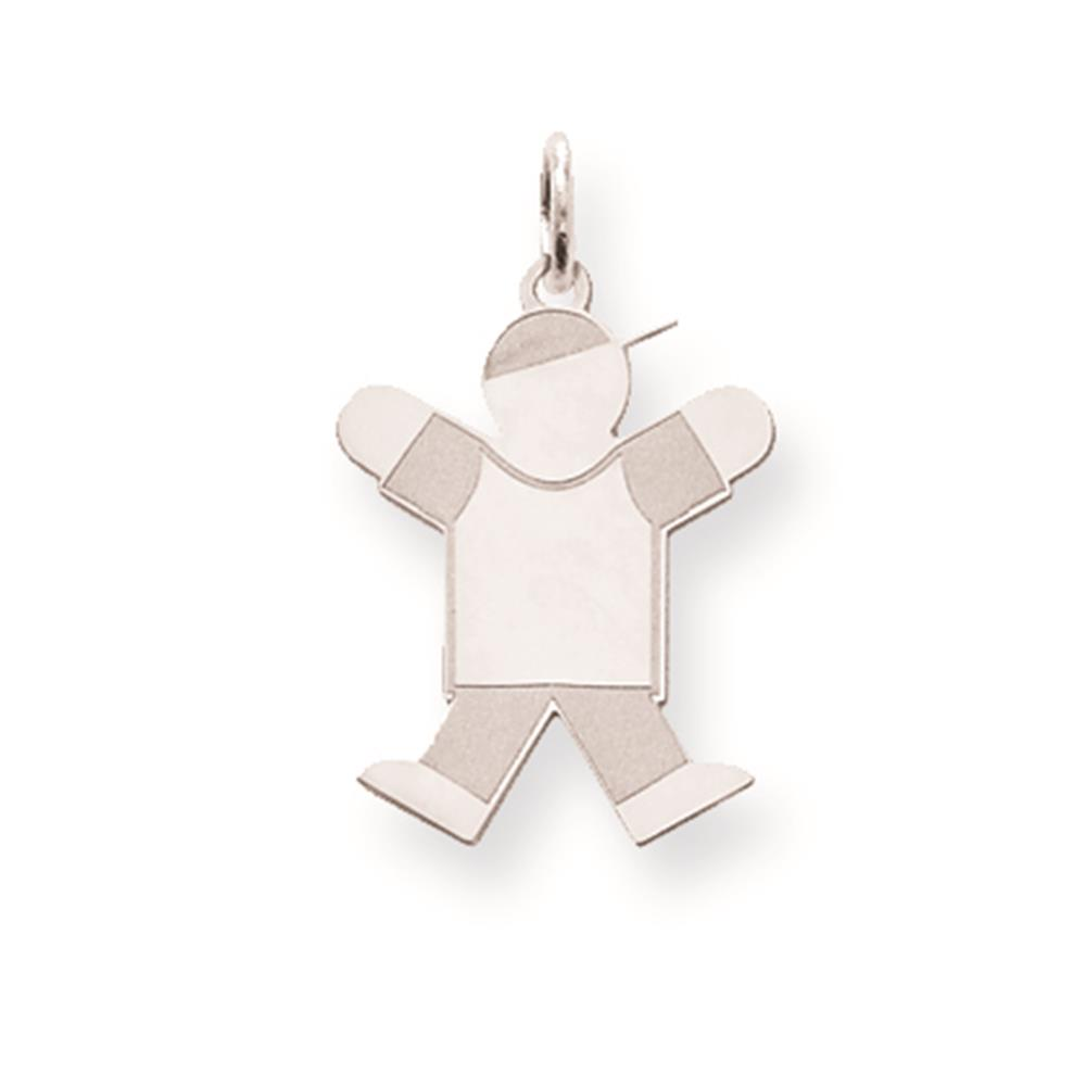 Sterling Silver Laser-cut Polished Fitting Kid Solid Charm Pendant