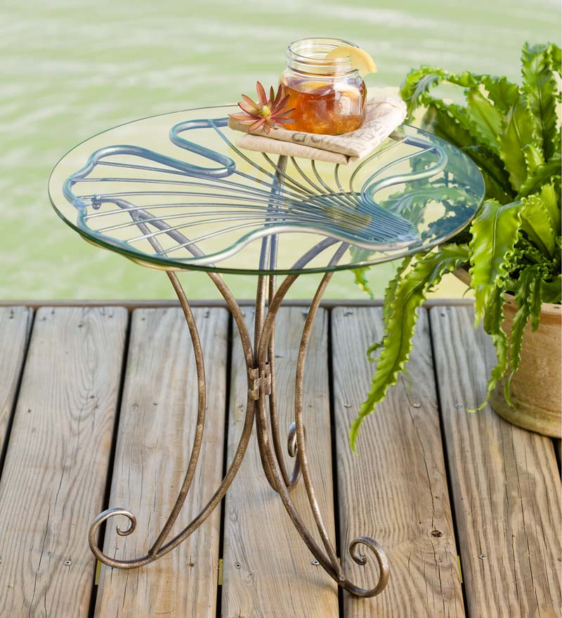 Metal & Glass Ginkgo Leaf Side Table