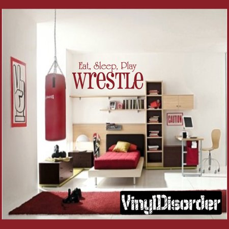 Eat Sleep Play Wrestle Sports Hobbies Outdoor Vinyl Wall Decal Sticker Mural Quotes Words S014 36 Inches