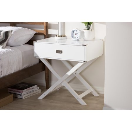 Cara Modern And Contemporary White 1-Drawer Wooden Bedside Table by Desert Fields