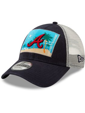 abaa8bb6c34c3 Product Image Atlanta Braves New Era Patched Trucker 3 9FORTY Adjustable  Snapback Hat - Navy White -
