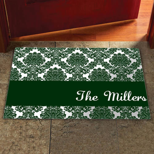 "Personalized 17"" x 27"" Damask Doormat, Multiple Colors"
