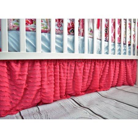 Fur Ruffle - Hot Pink Ruffle Crib Skirt for Baby Bedding Nursery Decor
