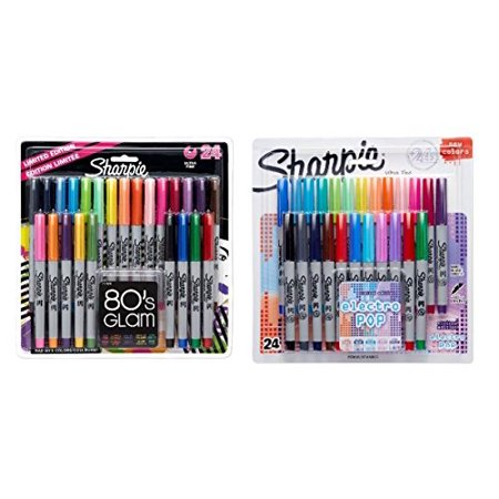 Sharpie Ultra-Fine Point Permanent Markers, 80s Glam and Electro Pop Colors, 48 Markers In Total (2 Pack) (80s Glam Sharpies)