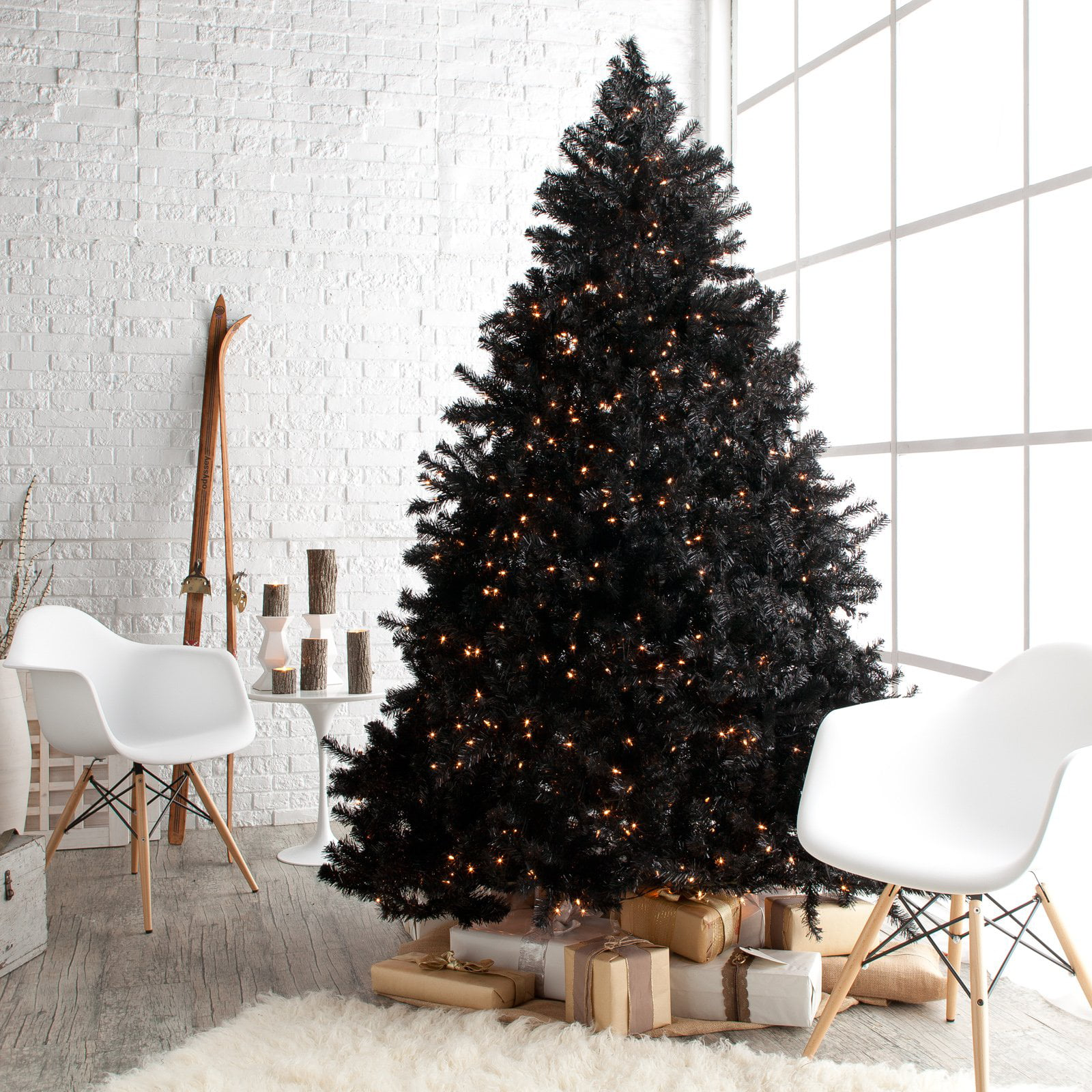 Classic Black Full Pre-lit Christmas Tree - 7.5 ft. - Clear ...