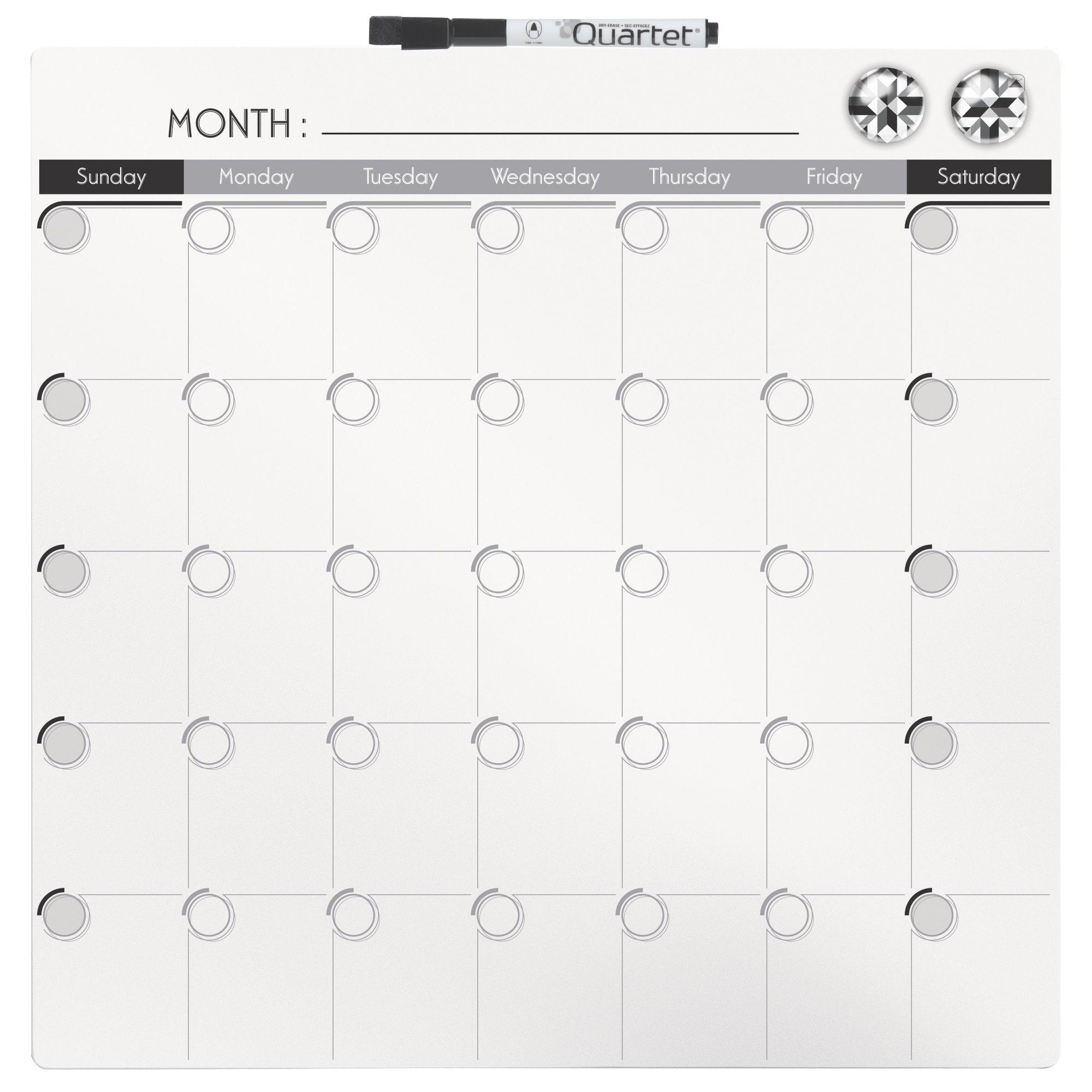 Quartet Frameless Magnetic Dry Erase Calendar Tile 14x14 Dry Erase
