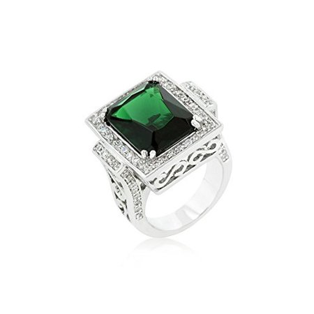 Rhodium Plated Classic Cocktail Ring Featuring Filigree Crafting and Emerald Green CZ Size 5