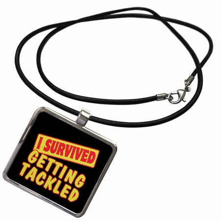 3dRose I Survived Getting Tackled Survial Pride And Humor Design - Necklace with Pendant (ncl_117967_1) - Lesbian Pride Necklace