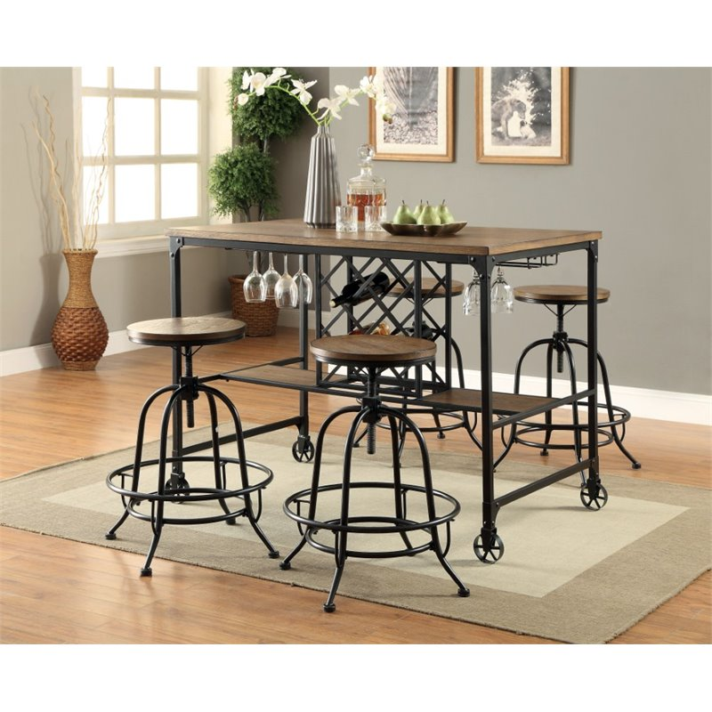 Furniture of America Manny 5 Piece Counter Height Pub Set in Oak