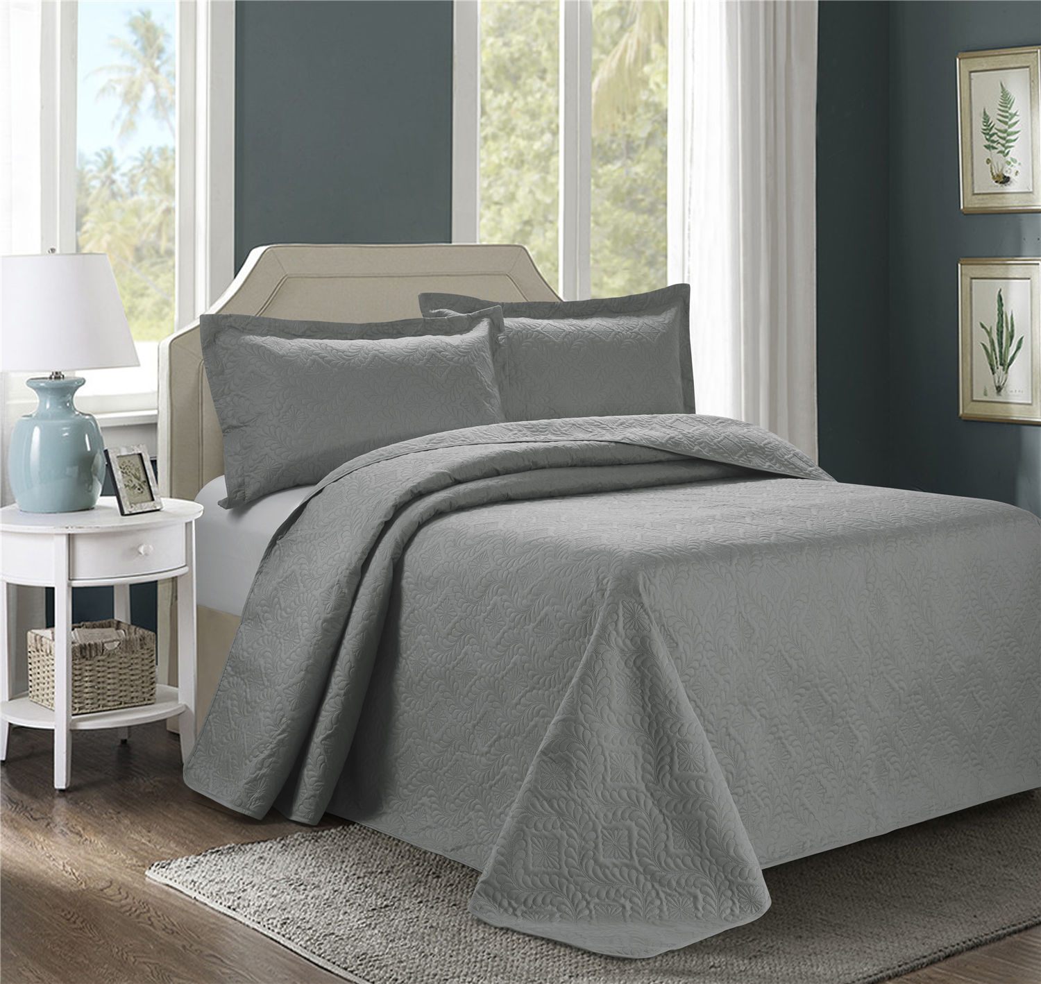 3 Piece Oversize Bedspread Burgundy Color -ESTANCIA Wisteria Ultrasonic Embossed Bedspread Set with Two Shams - Oversized Coverlet - Hypoallergenic,Fade Resistant,Wrinkle Resistant