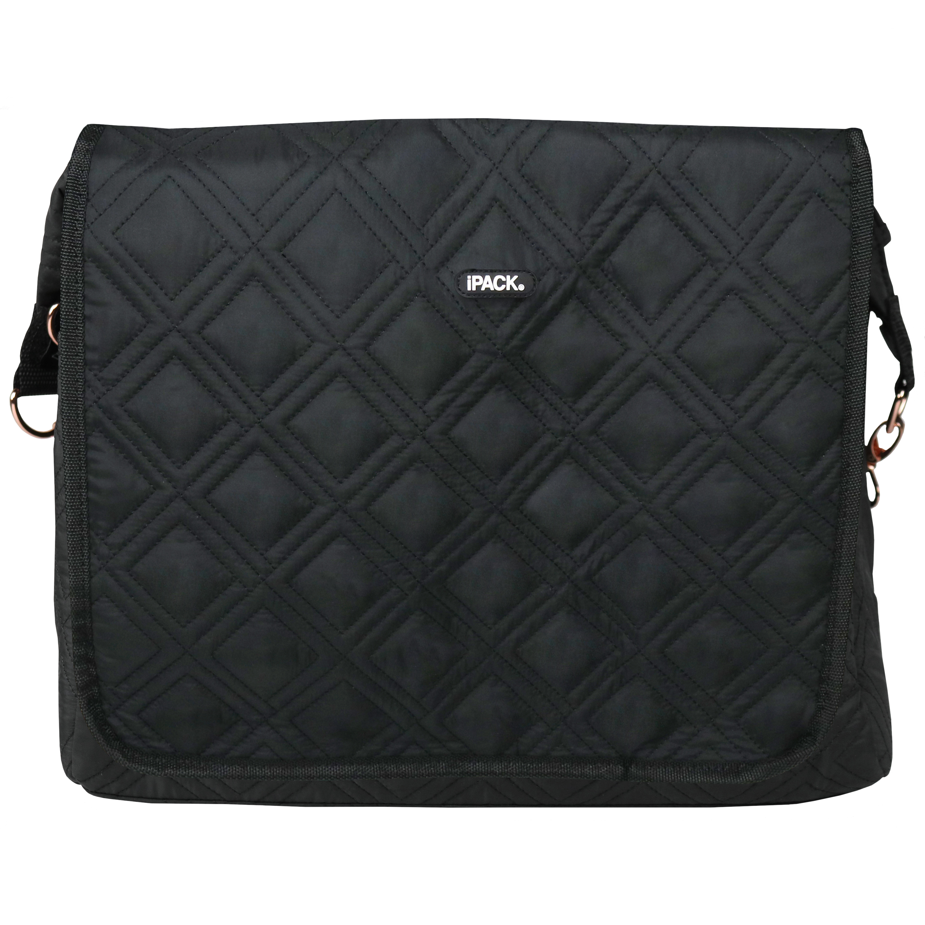 iPack Baby Black Quilted Diaper Bag with Changing Pad