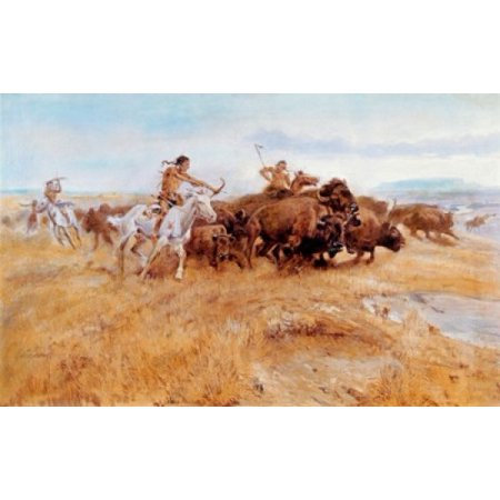Buffalo Hunt Charles Marion Russell (1865-1926 American) Canvas Art - Charles Marion Russell (18 x 24) ()