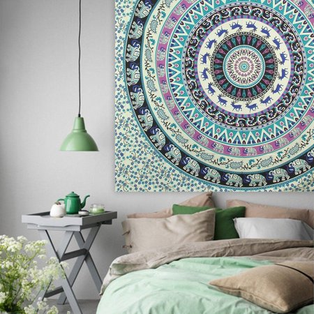 Hippie Deer Mandala Tapestry Wall Hanging, Blue Bohemian Art or Indian Ombre Hippy Bedding Bedspread Set for Bedroom, College Dorm Room Accessories or Beach Blanket