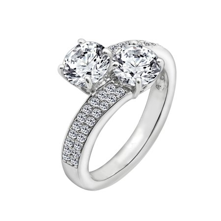 Sq Accent Plate - Gemour Platinum Plated Sterling Silver Swarovski Zirconia 2-Stone Round Pave Accent Ring, Size 8