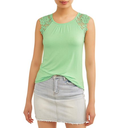 Juniors' Crochet Lace Cap Sleeve Blouse