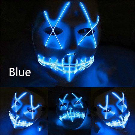 Scary Mask Halloween Cosplay Led Costume Mask El Wire Light Up Mask for Festival Parties Blue - Scary Halloween Mask Pics