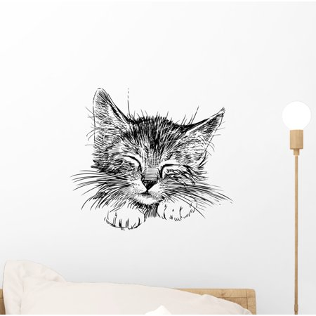 Sleeping Cat Wall Decal Sticker by Wallmonkeys Vinyl Peel and Stick Graphic (12 in W x 11 in H)
