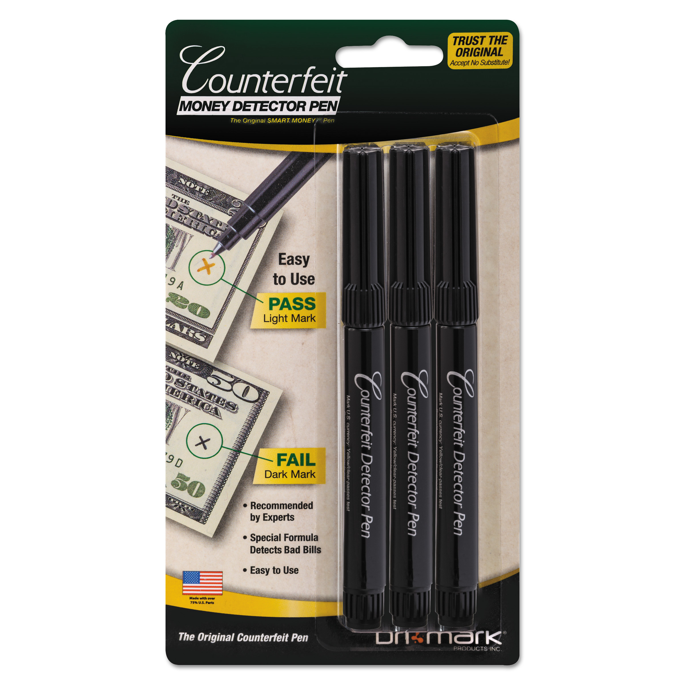 Dri-Mark Smart Money Counterfeit Bill Detector Pen for Use w/U.S. Currency, 3/Pack -DRI3513B1
