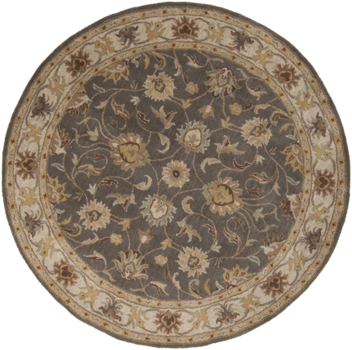 6' Augustus Heather Gray and Brown Taupe Hand Tufted Round Wool Area Throw Rug
