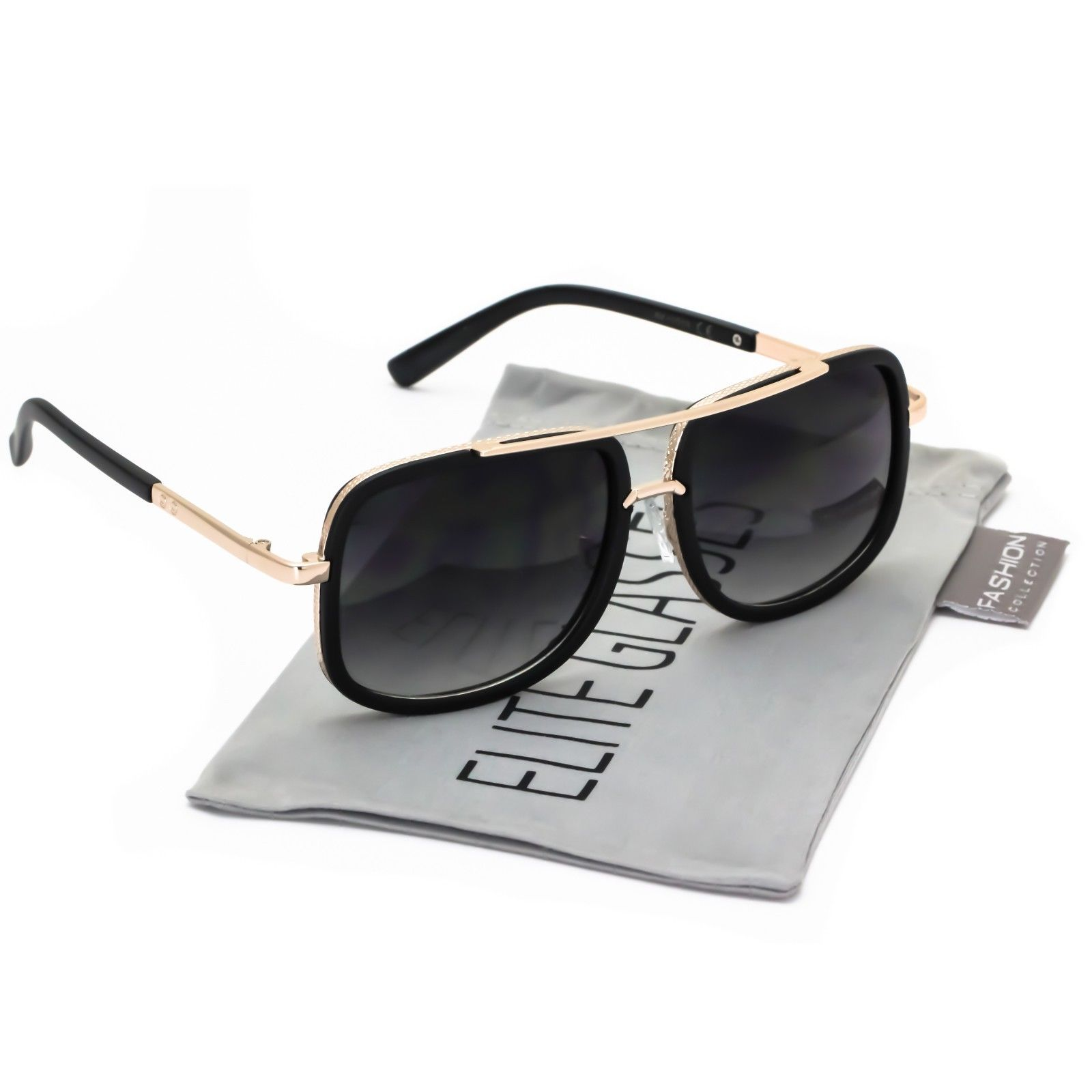 3414d8b20ea1 Mach Oversized Square Aviator Gold Metal Bar Men Designer Fashion Sunglasses  - Walmart.com