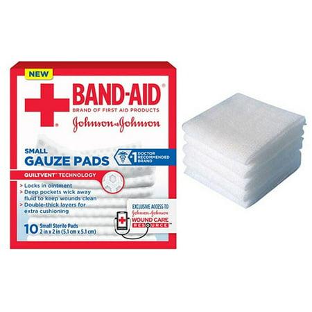 J J Band Aid First Aid Gauze Pads 2 X 2 10 Ct Part No 111656900