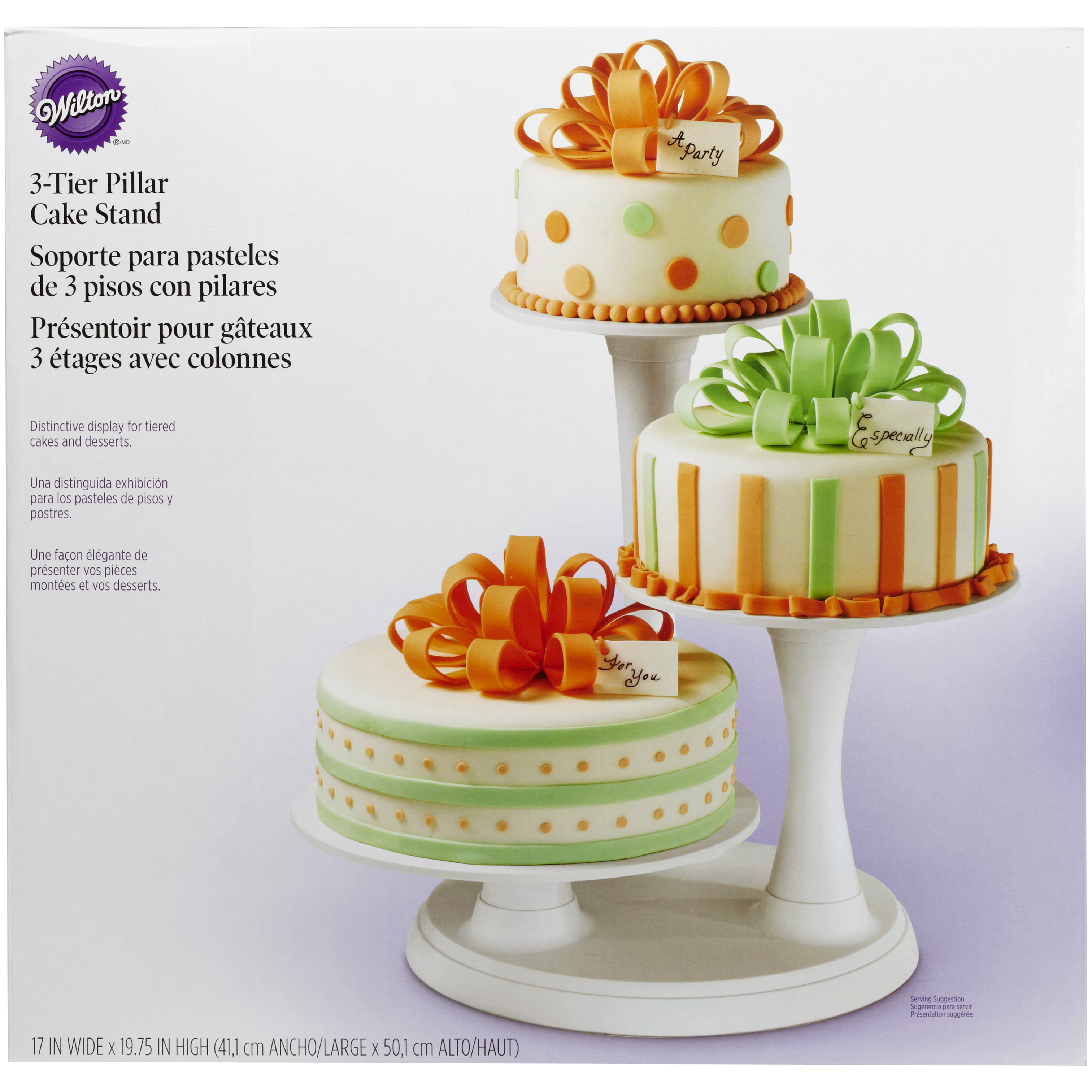 Serveware New Wilton 3 Tier Pillar Style Cake And Cupcake Stand Birthday Married