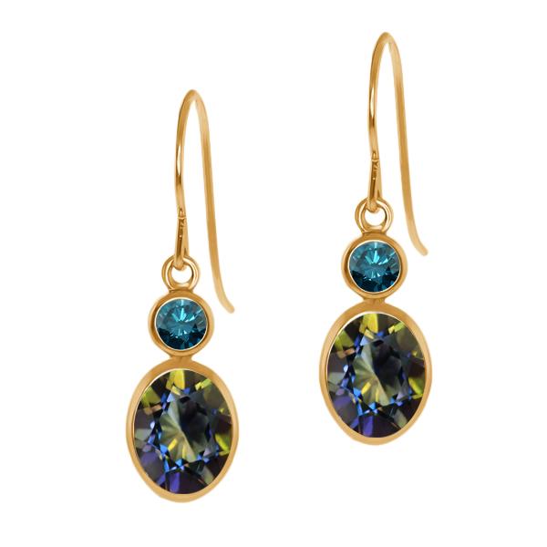 2.14 Ct Oval Blue Mystic Topaz Blue Diamond 14K Yellow Gold Earrings