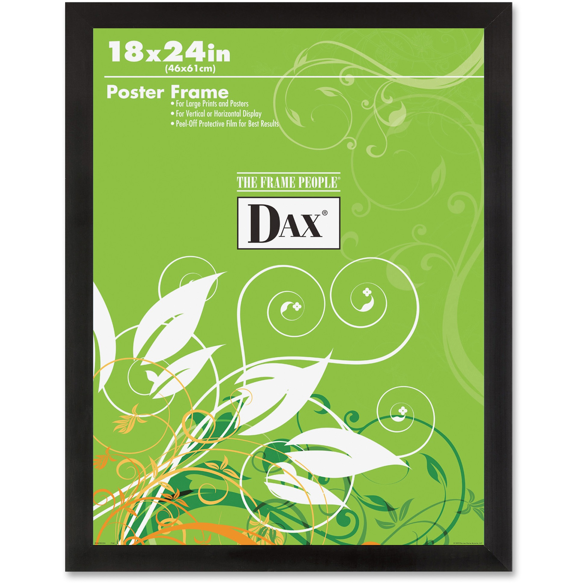 DAX Black Solid Wood Poster Frames w/Plastic Window, Wide Profile, 18 x 24