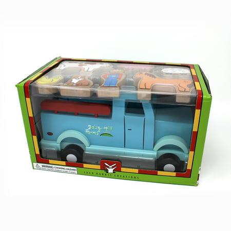 Jack Rabbit Creations Magnetic Wooden Farm Truck Set