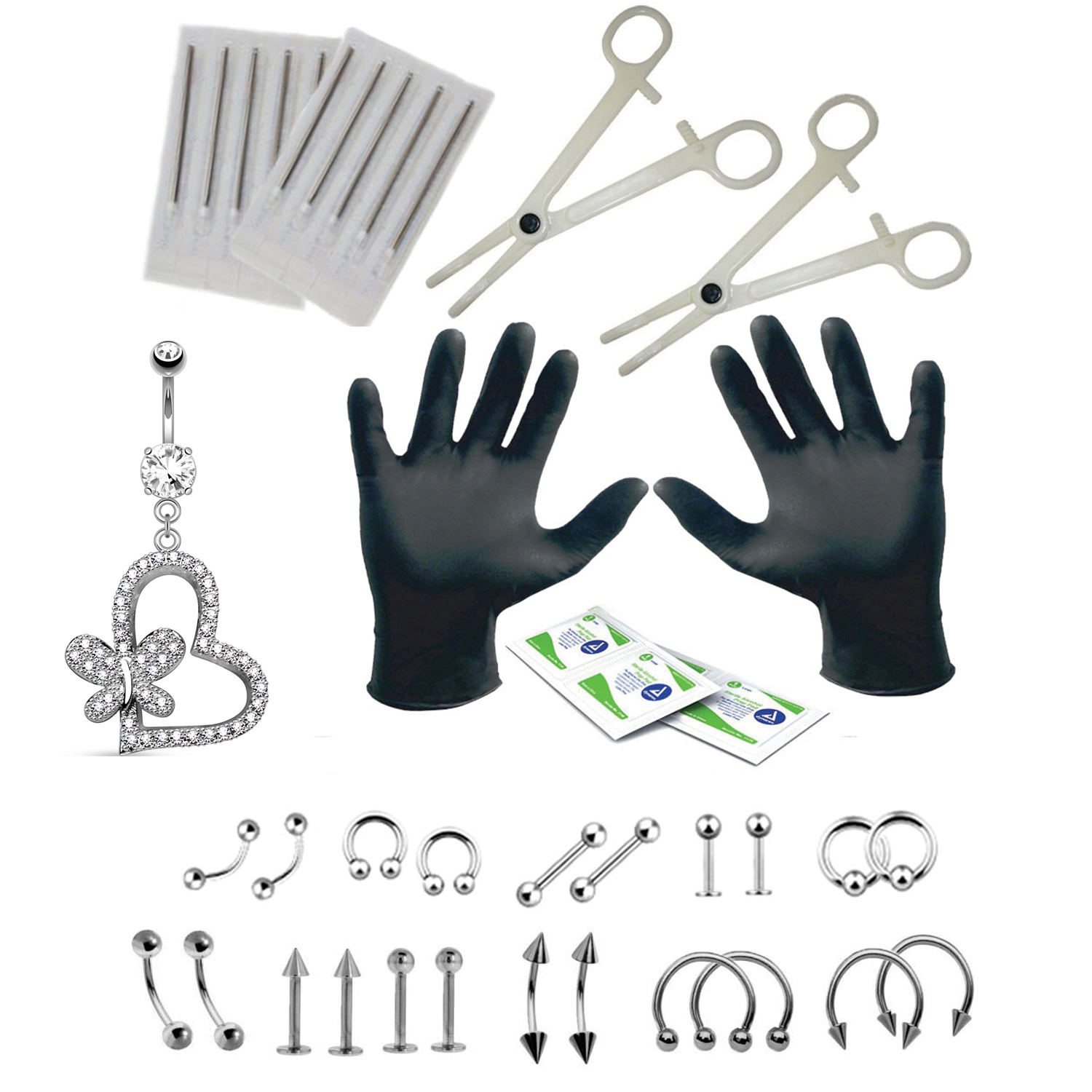 BodyJ4You 36PCS Professional Piercing Kit Steel 14G 16G Lizard Belly Ring Tongue Tragus Nipple Lip Nose Jewelry