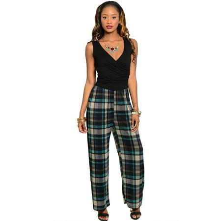 ccd1d0298854 Gilli - Gilli Womens Black Teal Tan Jumpsuit Large - Walmart.com